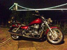 Triumph Thunderbird under The Clifton Suspension Bridge