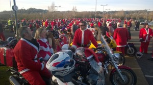 Santa's on Bikes chatting after the ride..